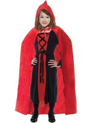 Child Red Velvet Hooded Cape