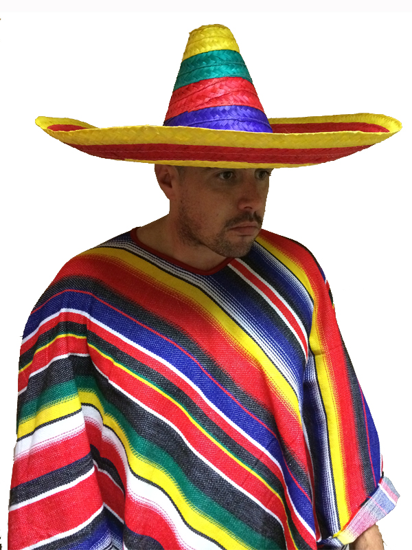 Adult Multi-Colour Mexican Straw Sombrero Hat Fancy Dress Bandit Wild West   7dd5ffb24cbe