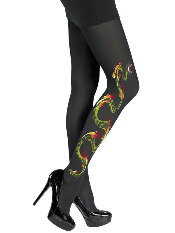 Snake Black Nylon Pantyhose