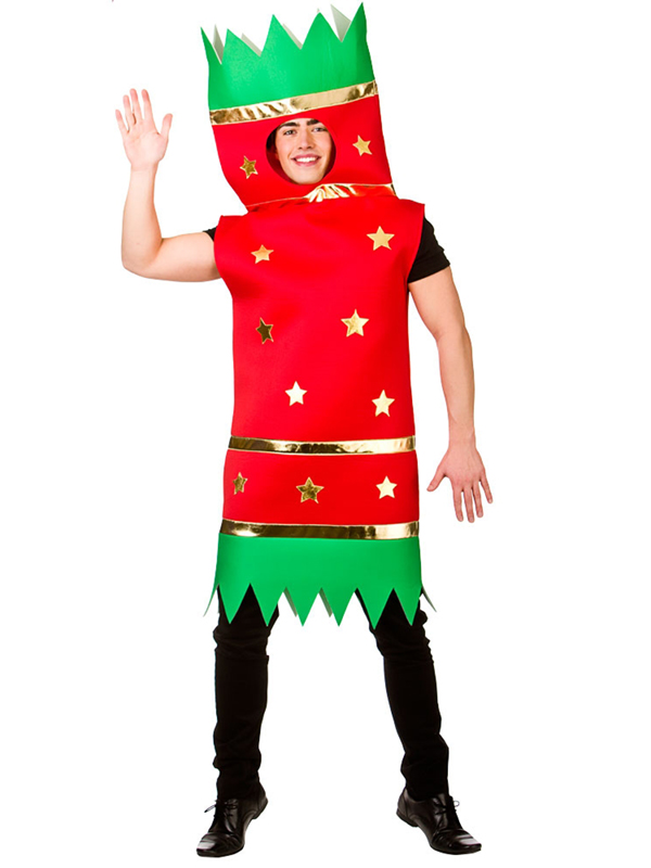 Adult Red Xmas Christmas Cracker Costume Fancy Dress