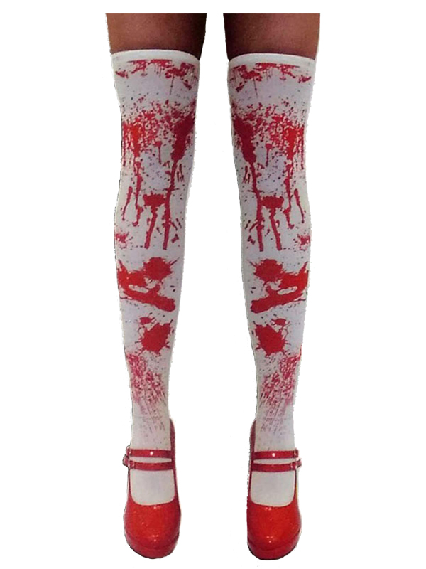 Blood Stain Effect White Stockings