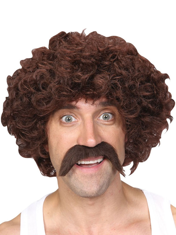 Adult Mens Funny Athlete Set Wig Brown