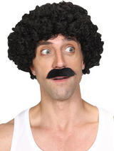 Adult Mens Shifty Guy Wig & Tash Black