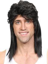 Adult Mens 80'S Mullet Wig Black