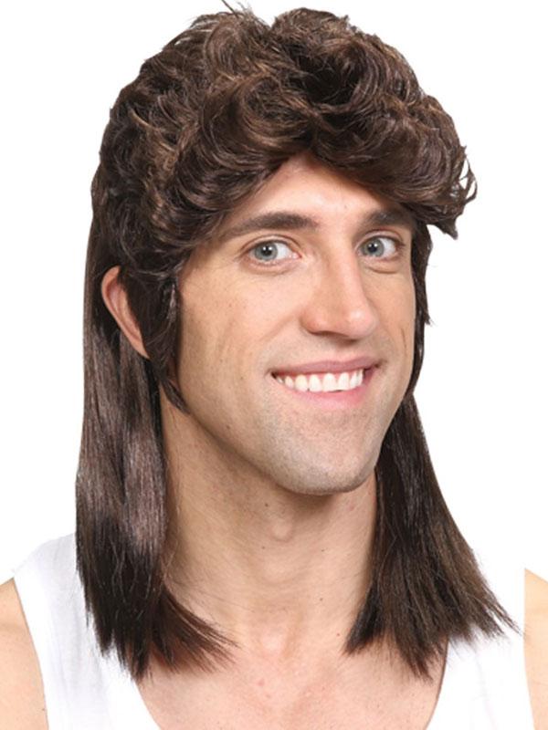 Adult Mens 80'S Mullet Wig Brown