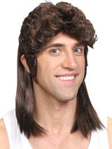 Adult Mens 80'S Mullet Wig Brown