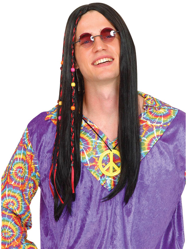 Adult Cool Hippie Wig Black