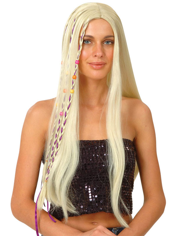 Adult Ladies Blonde Groovy Hippie Wig