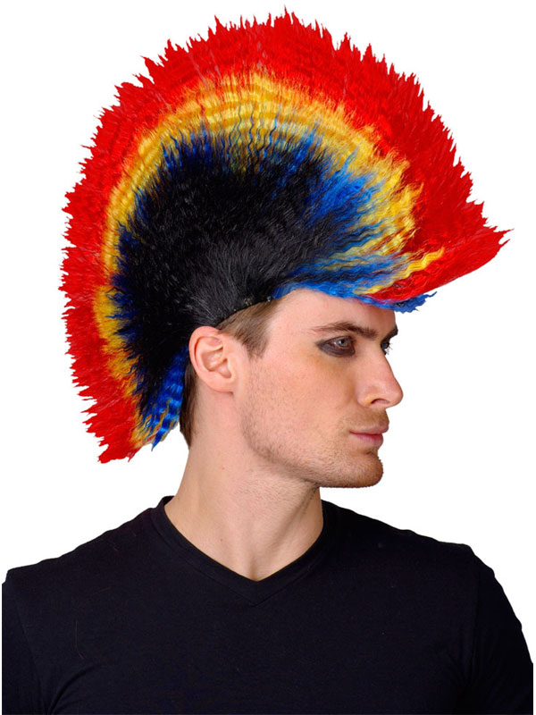 Adult Punk Multi Colour Mohican Wig