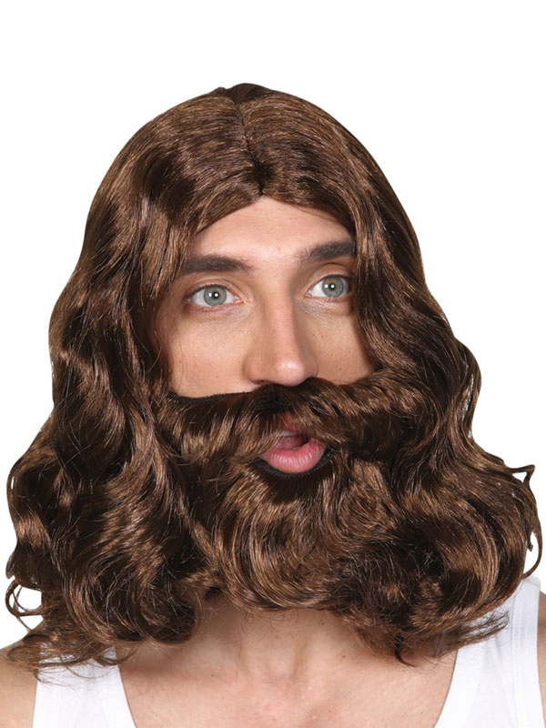 Adult Jesus Wig & Beard Red