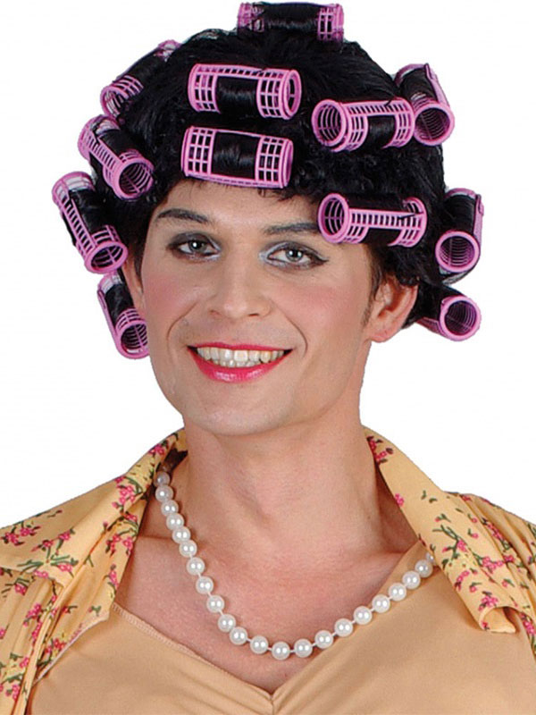 Adult Funny Housewife Wig With Rollers