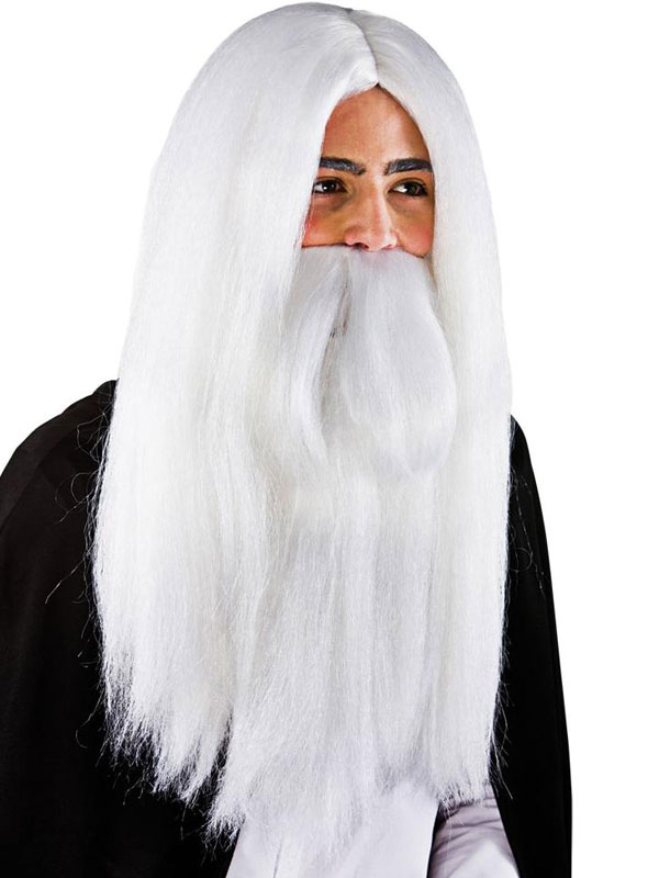 Adult Mens White Wizard Wig & Beard White