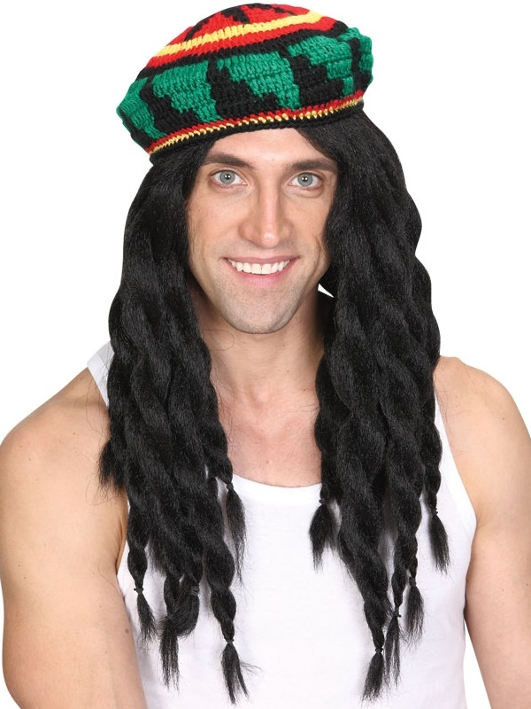 Adult Deluxe Knitted Rasta Hat & Wig
