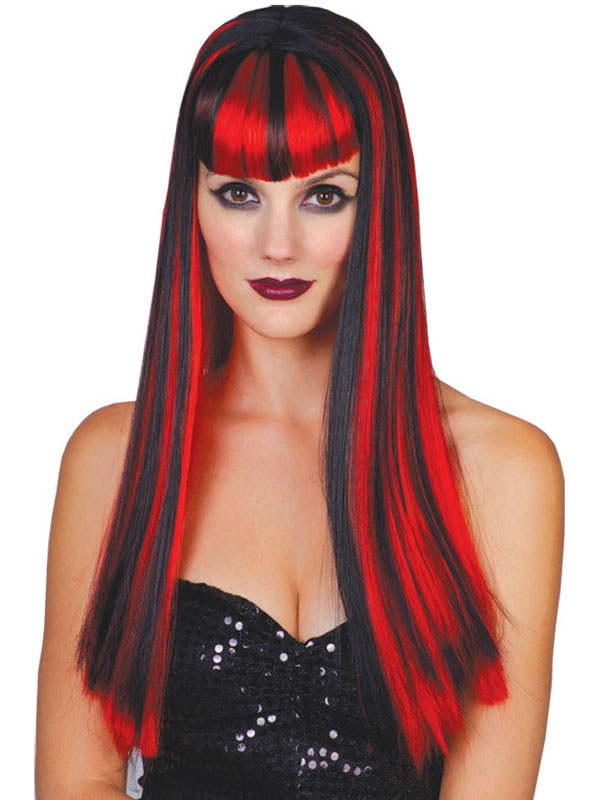 Adult Ladies Red & Black Vamp Vixen Wig
