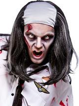 Adult Mens Freaky Zombie Bald Top Wig Black Grey