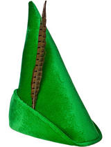 Deluxe Peter Pan Hat (Green) With Feather