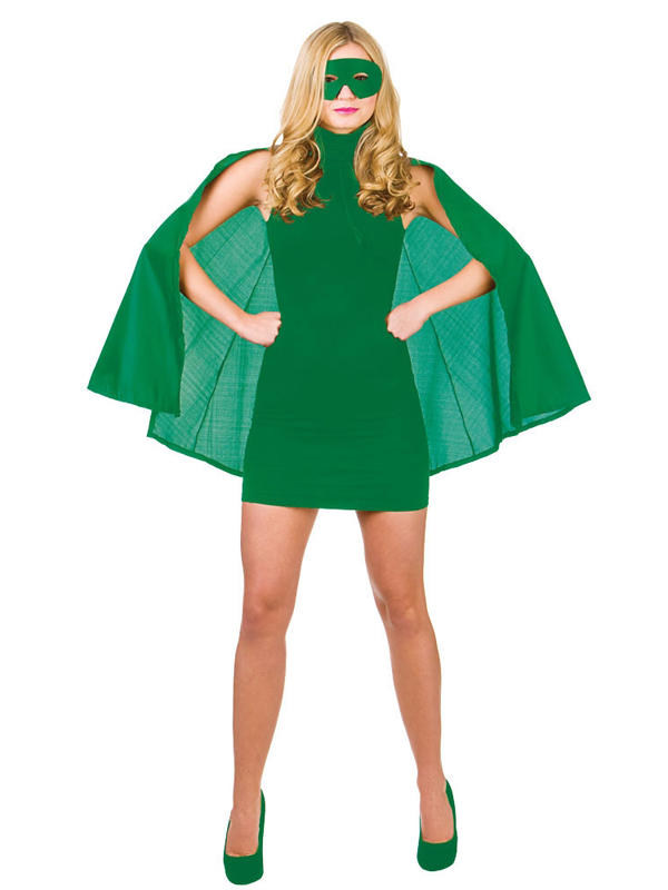 Superhero Cape With Mask Green