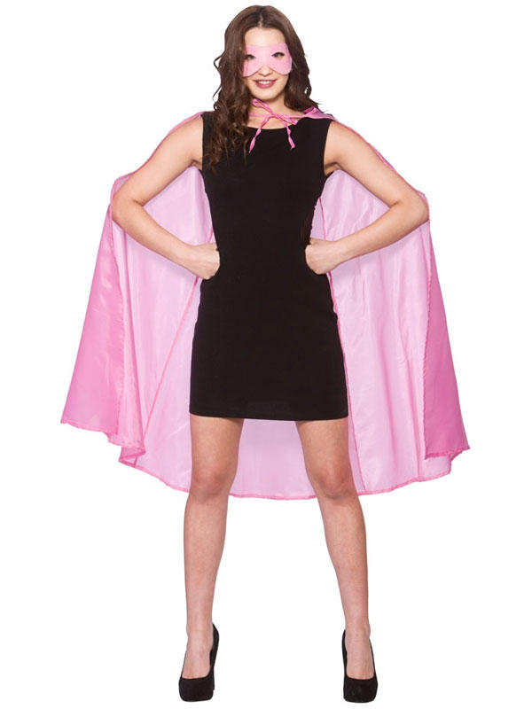 Superhero Cape With Mask Baby Pink