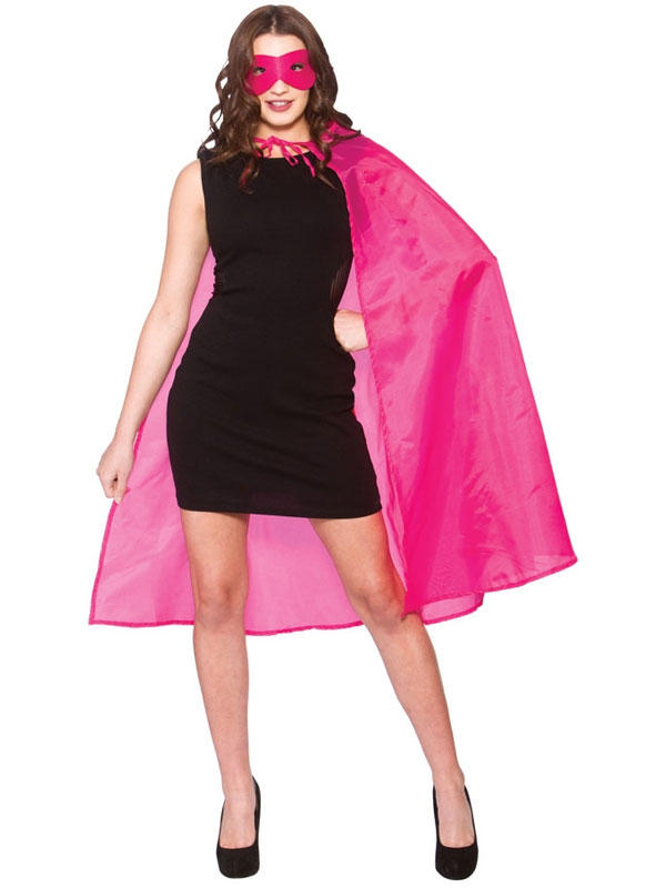 Superhero Cape With Mask Hot Pink
