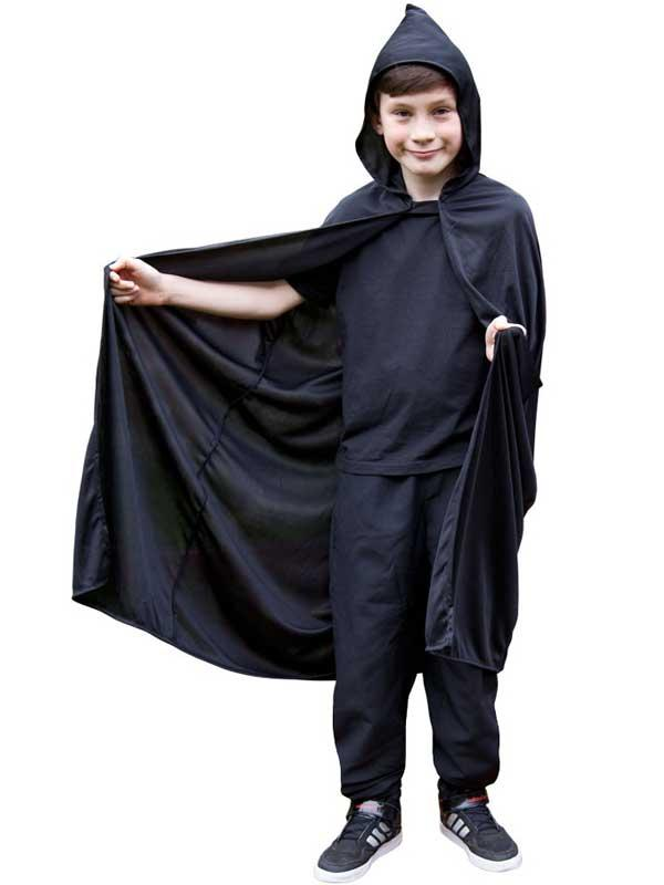 Child Hooded Cape Black