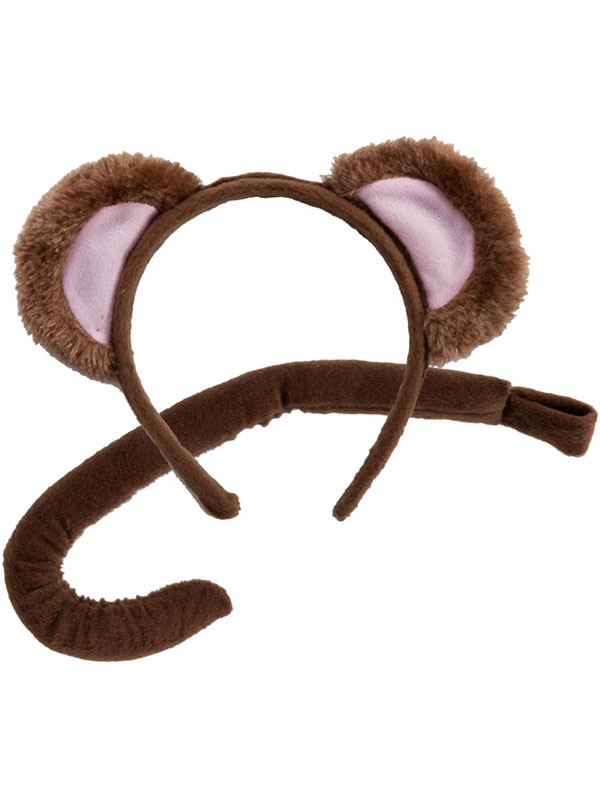 Animal Ears Headband & Tail Set (Monkey)