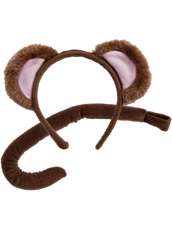 Animal Ears Headband & Tail Set (Monkey)
