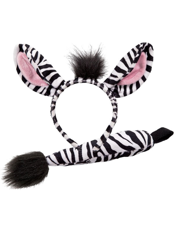 Animal Ears Headband & Tail Set (Zebra)