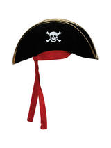 Pirate Hat (Black) With Gold Trim & Red Bandana