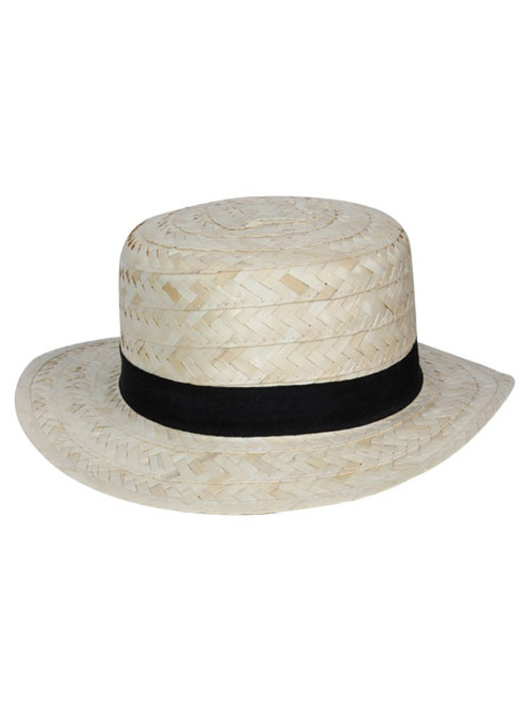 Straw Boater Hat (Black Band)