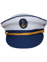 Sailor Captain Cap Hat (White/Blue)