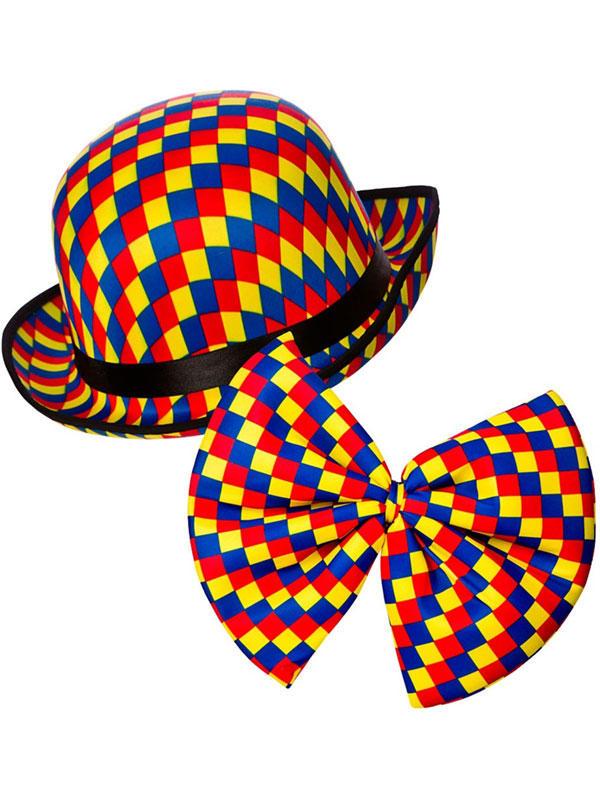 Clown Bowler Hat & Tie (Patterned Colours)