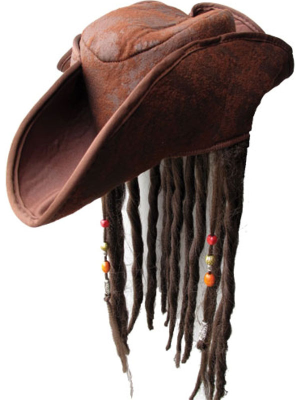 Caribbean Pirate Hat With Braided Hair & Beads