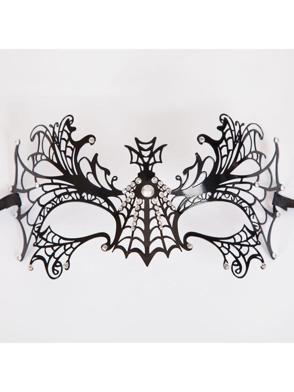 Metal Spiderweb White Eye Mask (Matt Black Diamantes)