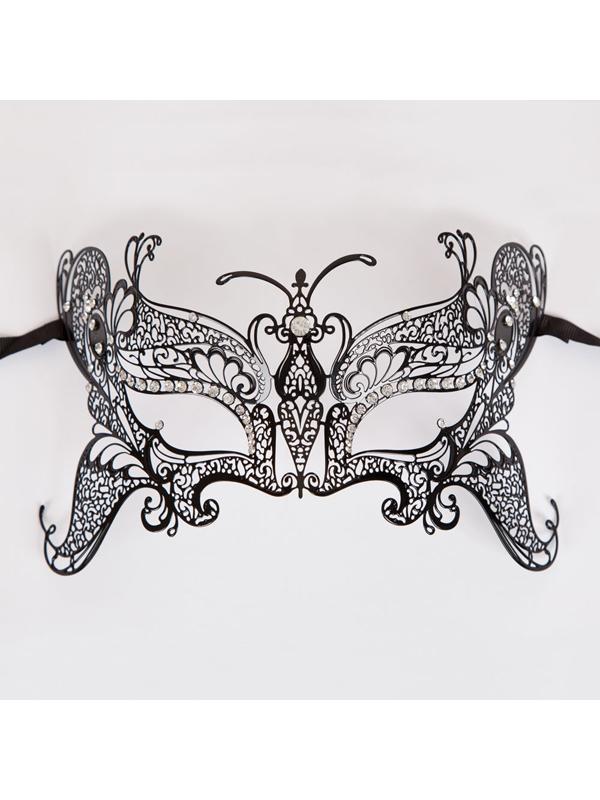 Metal Butterfly Eye Mask (Matt Black Diamantes)