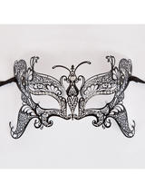 Metal Butterfly Eye Mask (Matt Black Diamantes)