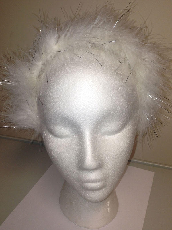Adult Ladies Feather Headband White/Tinsel