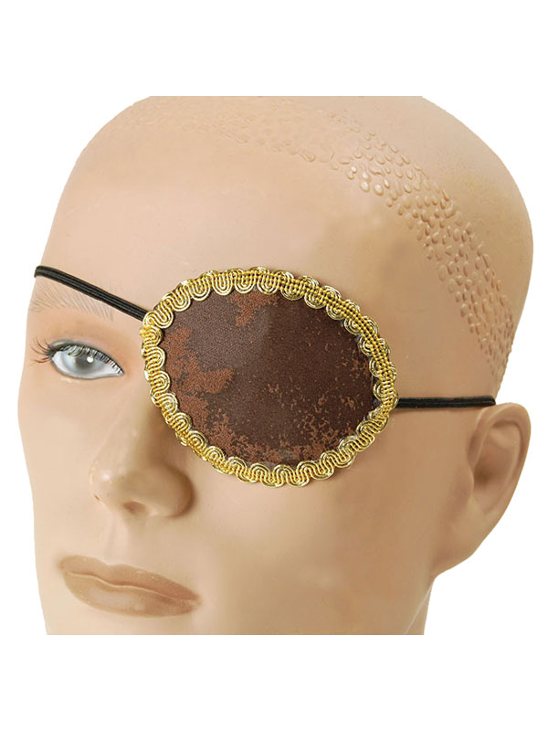 Pirate Brown Eye Patch + Gold Trim
