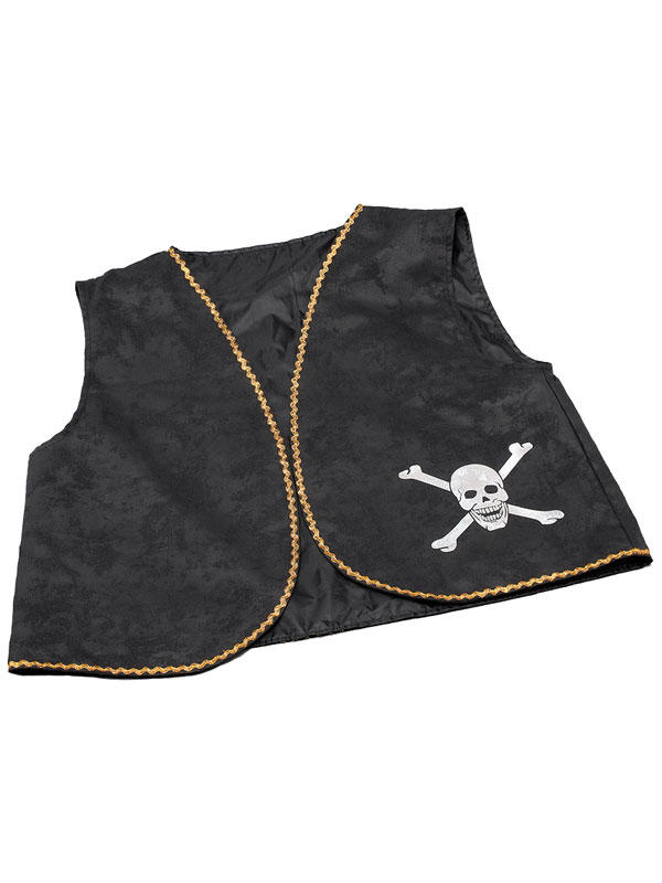 Pirate Waistcoat Black Distressed