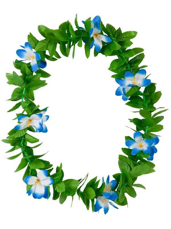 Adult Green Leaf Lei Blue Flowers