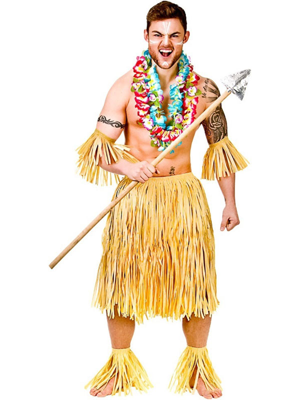 Adult Hawaiian Party Guy 5pc Set Authentic Raffia