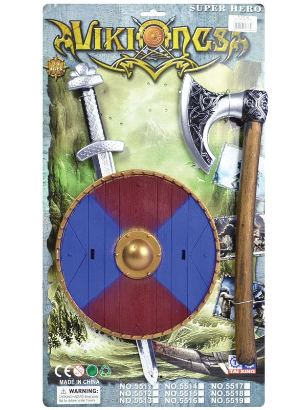 Viking Sword Shield + Axe Set