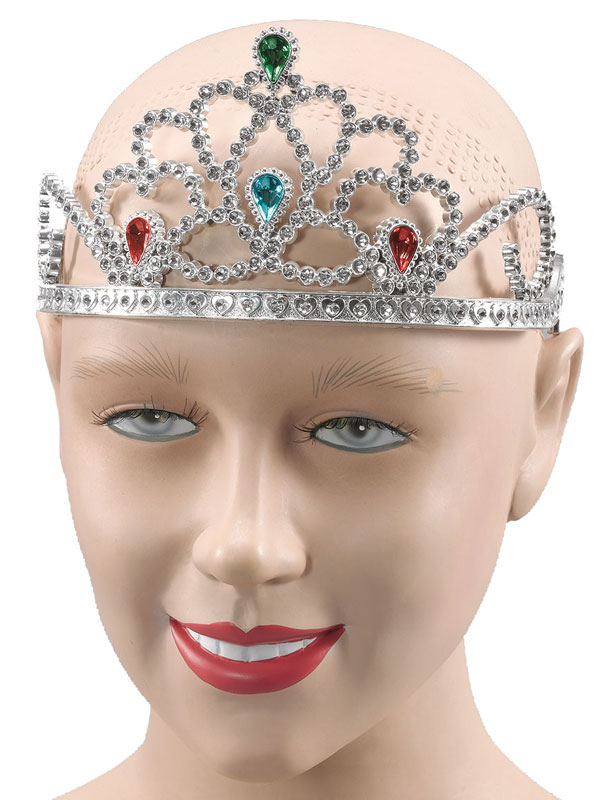 Ladies Girls Silver Plastic Tiara/Paint Stones