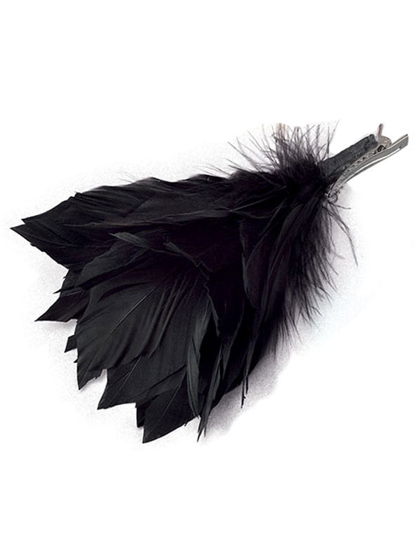 Feather Hair Clip Black