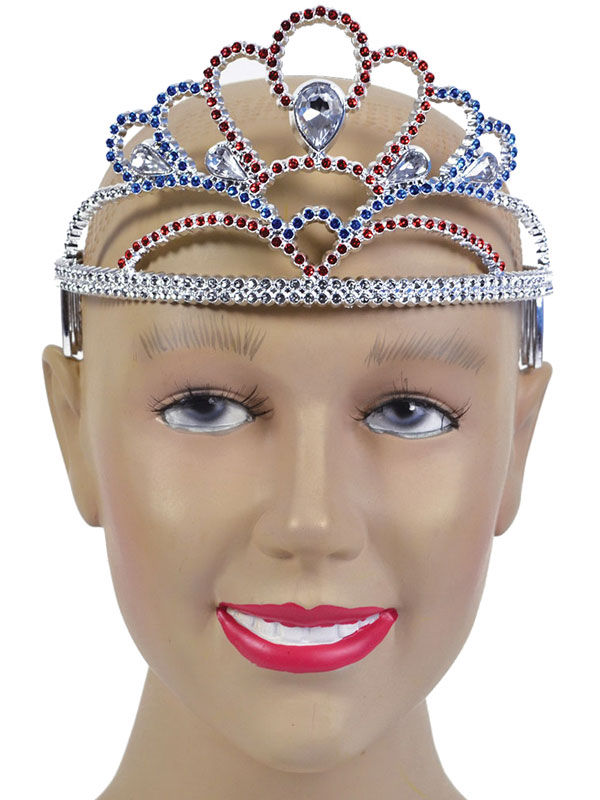Ladies Girls Tiara Plastic Red/Silver/Blue