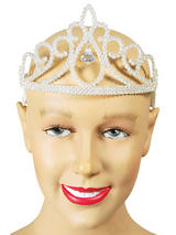 Ladies Girls Tiara White Glitter + Diamond
