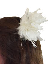 Hair Clip White Feather Tinsel