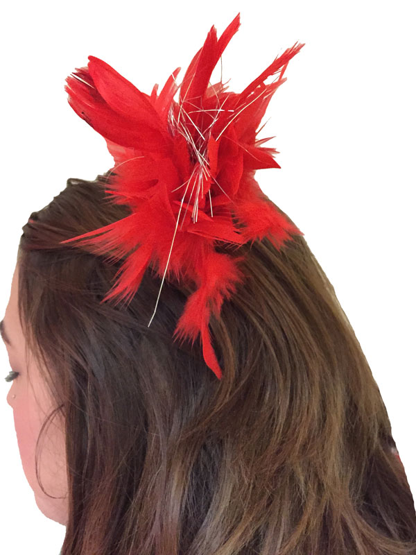 Hair Clip Red Feather Tinsel
