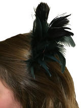 Hair Clip Black Feather Tinsel