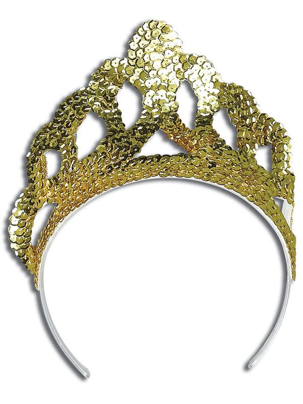 Ladies Girls Tiara Sequin Gold