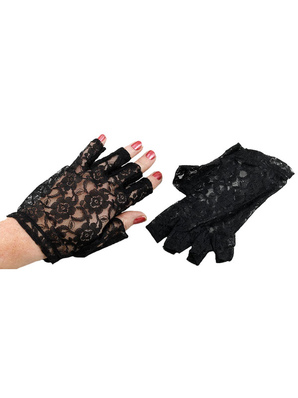 Lace Gloves Fingerless Black